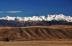 View of Southern alps from mount john lake tekapo. Southern Alps and snowy mountain in New Zealand royalty free stock photo