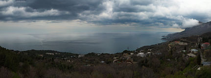 View of the southern coast of Crimea from the mountain Royalty Free Stock Images