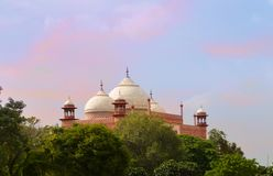 View of Southern gate Dome. Enterance of Taj Mahal. Agra. India. Beautiful Sky and View of Southern gate Dome. Enterance of Taj Mahal. Agra. India royalty free stock photos