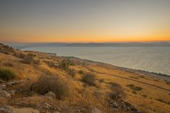 Sea of Galilee the Kinneret lake, at sunset. View of the southern part of the Sea of Galilee the Kinneret lake, from the east, at sunset, Northern Israel Royalty Free Stock Images
