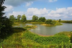 A view from the southern shore of the Lake. Meadow Lake near the village of Chernukha royalty free stock image