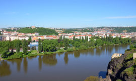 View from the southern tip of Vysehrad fortress on the river Vltava Royalty Free Stock Image
