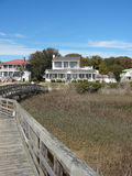 View of Southport homes from pier. View of Southport, North Carolina (NC) homes with marsh in foreground royalty free stock photo