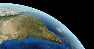 View from space of India country in planet earth stock footage