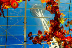 View of Space Needle through Chihuly glass exhibit Stock Images