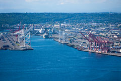 View from Space Needle to dock area, Seattle Stock Photo