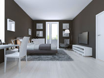 View of spacious hotel room in taupe. 3D render Stock Photo