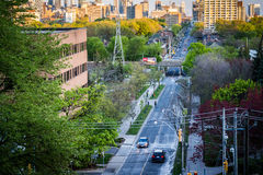 View of Spadina Avenue from the Baldwin Steps at Spadina Park. In Midtown Toronto, Ontario Royalty Free Stock Photography