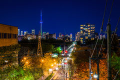 View of Spadina Avenue and downtown from the Baldwin Steps at Sp. Adina Park, in Midtown Toronto, Ontario stock photo