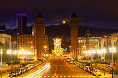 View of Spain square at Barcelona in twilight Stock Photos