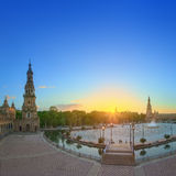 View of Spain Square (Plaza de Espana) on sunset, landmark in Renaissance Revival style, Seville, Spain Royalty Free Stock Images