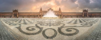 View of Spain Square during sunrise, Seville Royalty Free Stock Photo