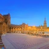 View of Spain Square on sunset, landmark in Renaissance Revival style, Seville, Spain Stock Photography