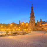 View of Spain Square on sunset, landmark in Renaissance Revival style, Seville, Spain Stock Photo