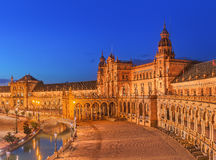 View of Spain Square on sunset, landmark in Renaissance Revival style, Seville, Spain Stock Photography