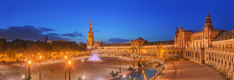 View of Spain Square on sunset, landmark in Renaissance Revival style, Seville, Spain Stock Photo