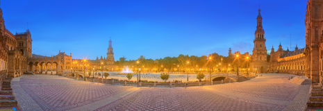 View of Spain Square on sunset, landmark in Renaissance Revival style, Seville, Spain Stock Image