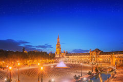 View of Spain Square on sunset, landmark in Renaissance Revival style, Seville, Spain Royalty Free Stock Images