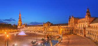 View of Spain Square on sunset, landmark in Renaissance Revival style, Seville, Spain Royalty Free Stock Photo