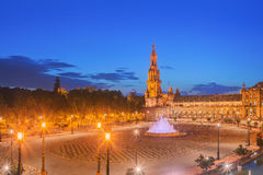 View of Spain Square on sunset, landmark in Renaissance Revival style, Seville, Spain Royalty Free Stock Image