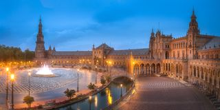 View of Spain Square on sunset, Seville. Night view of Spain Square on sunset, landmark in Renaissance Revival style, Seville, Andalusia, Spain Stock Photography