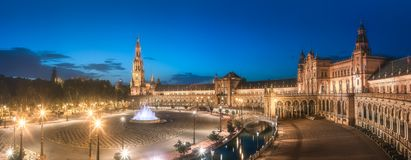 View of Spain Square on sunset, Seville. Night view of Spain Square on sunset, landmark in Renaissance Revival style, Seville, Andalusia, Spain stock images