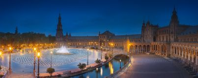 View of Spain Square on sunset, Seville. Night view of Spain Square on sunset, landmark in Renaissance Revival style, Seville, Andalusia, Spain royalty free stock photography