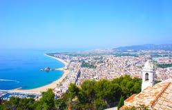 View of Spanish beach of resort town Blanes, Costa Brava Royalty Free Stock Photos