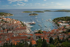 Spectacular view of the Old Town of Hvar, Croatia Royalty Free Stock Image