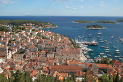 Spectacular view of the Old Town of Hvar, Croatia Royalty Free Stock Images