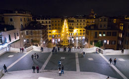 View from the Spanish Steps in Rome by night Royalty Free Stock Images