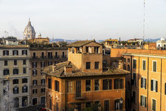 View from the Spanish Steps Rome at sunrise Stock Photos