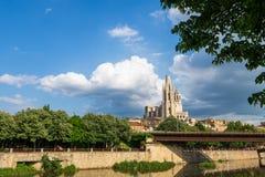 View of spanish town Girona in Catalunya royalty free stock photos
