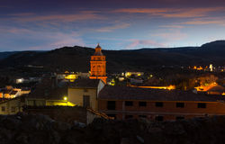 View of  spanish town in twilight. Utrillas Royalty Free Stock Images