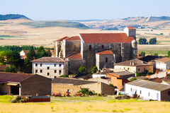 View of  spanish village with Gothic church.  Palenzuela Stock Photography