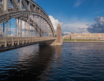 A view of the spans of the bridge over the river Neva in Saint-Petersburg, Russia Stock Photos