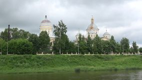 View of the Spaso-Preobrazhensky Cathedral and Vhodoierusalimskuyu Church. Torzhok, Russia stock video footage