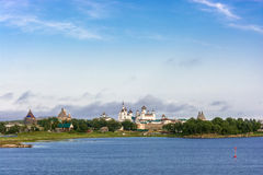 View on Solovetsky monastery from the White sea. Royalty Free Stock Images
