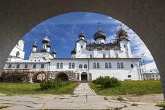 View of the Spaso-Preobrazhensky the Solovetsky Stavropegial monastery through the Holy gates. Bolshoy Solovetsky island in the Wh. Ite sea. Arkhangelsk region royalty free stock photo