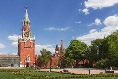 View of the Spasskaya tower and the square from Ivanovskaya square of the Kremlin Stock Photo