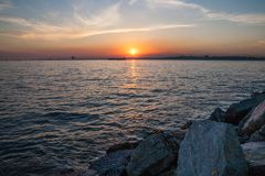 view of the spectacular sunset in the Bosphorus. Istanbul, Turkey royalty free stock photos
