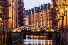View of the Speicherstadt, also called Hafen City,  in Hamburg,. HAMBURG, GERMANY - JUNE 6, 2016: Typical view of the Speicherstadt, also called Hafen City,  in Stock Photography