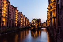 View of the Speicherstadt, also called Hafen City,  in Hamburg,. HAMBURG, GERMANY - JUNE 6, 2016: Typical view of the Speicherstadt, also called Hafen City,  in Stock Image