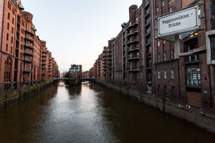 View of the Speicherstadt, also called Hafen City,  in Hamburg,. HAMBURG, GERMANY - JUNE 6, 2016: Typical view of the Speicherstadt, also called Hafen City,  in Royalty Free Stock Photo
