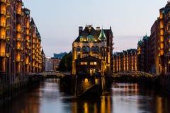 View of the Speicherstadt, also called Hafen City,  in Hamburg, Stock Image