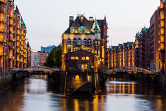 View of the Speicherstadt, also called Hafen City,  in Hamburg,. HAMBURG, GERMANY - JUNE 6, 2016: Typical view of the Speicherstadt, also called Hafen City,  in Stock Images