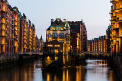 View of the Speicherstadt, also called Hafen City,  in Hamburg,. HAMBURG, GERMANY - JUNE 6, 2016: Typical view of the Speicherstadt, also called Hafen City,  in Royalty Free Stock Images