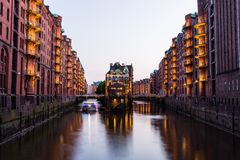 View of the Speicherstadt, also called Hafen City,  in Hamburg,. HAMBURG, GERMANY - JUNE 6, 2016: Typical view of the Speicherstadt, also called Hafen City,  in Royalty Free Stock Image