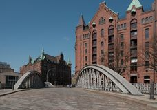View of Speicherstadt from St. Anne Square royalty free stock photos