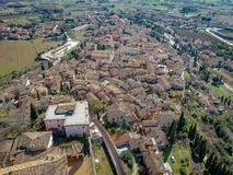 View of Spello, Umbria, Italy. Drone aerial photo royalty free stock photos